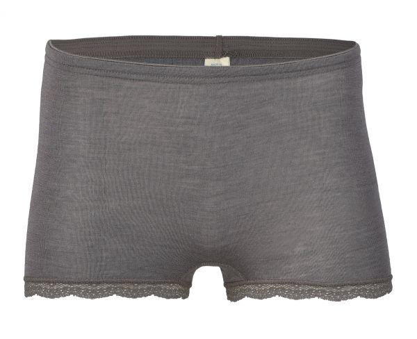 Damen-Pants mit Spitzenabschluss am Bein, Feinripp taupe