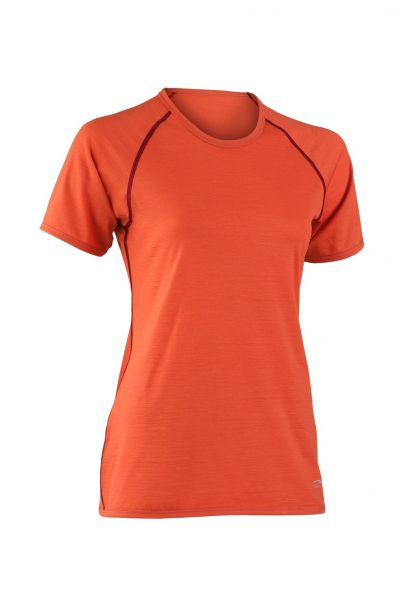 Damen Shirt kurzarm, Nähte in Kontrastfarben spicy